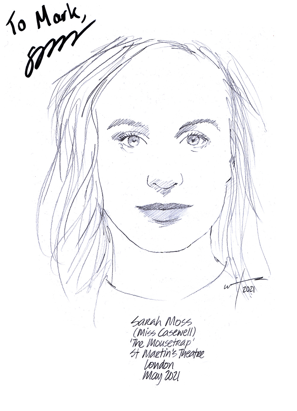 Autographed drawing of Sarah Moss as Miss Casewell in The Mousetrap at St Martin's Theatre on London's West End