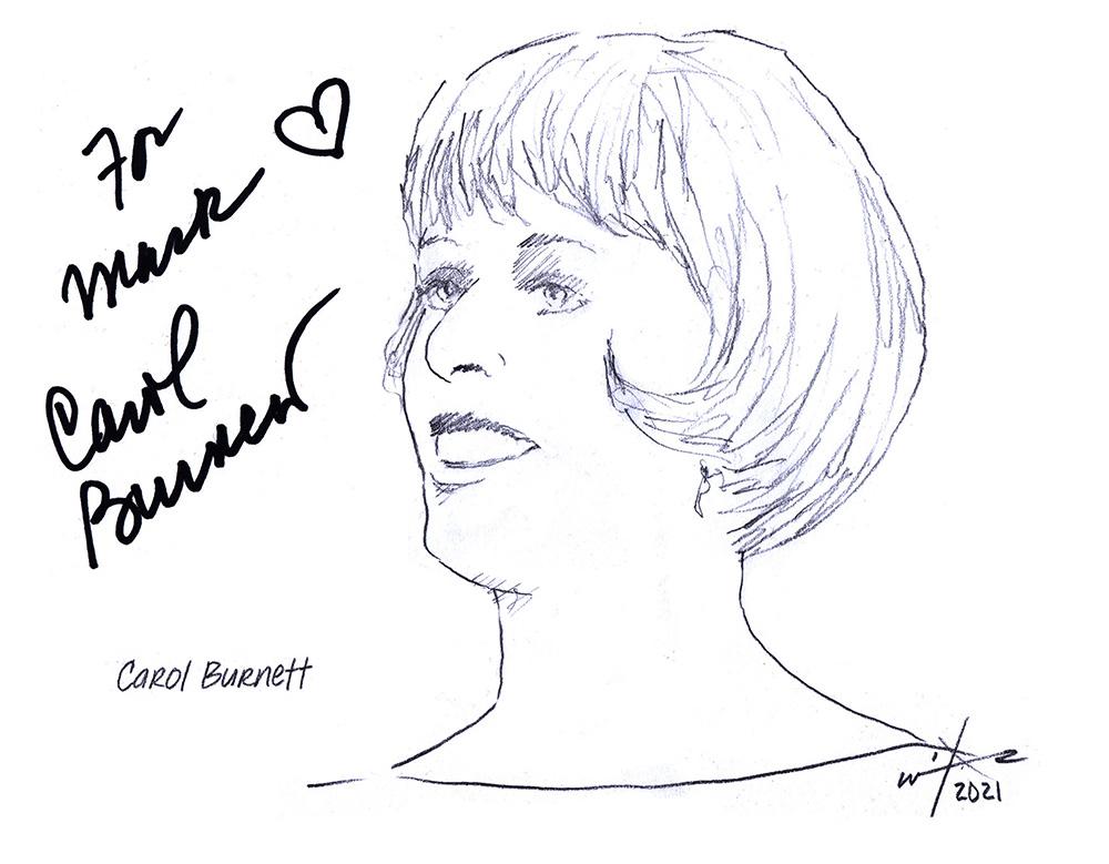 Autographed drawing of Carol Burnett