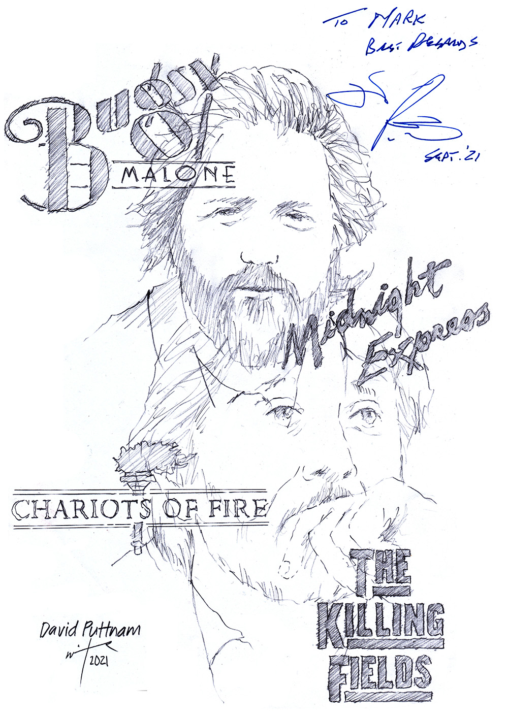 Autographed drawing of producer David Puttnam